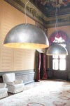 Very large pendant in gray patinated steel Moonlight. Aldo Bernardi.