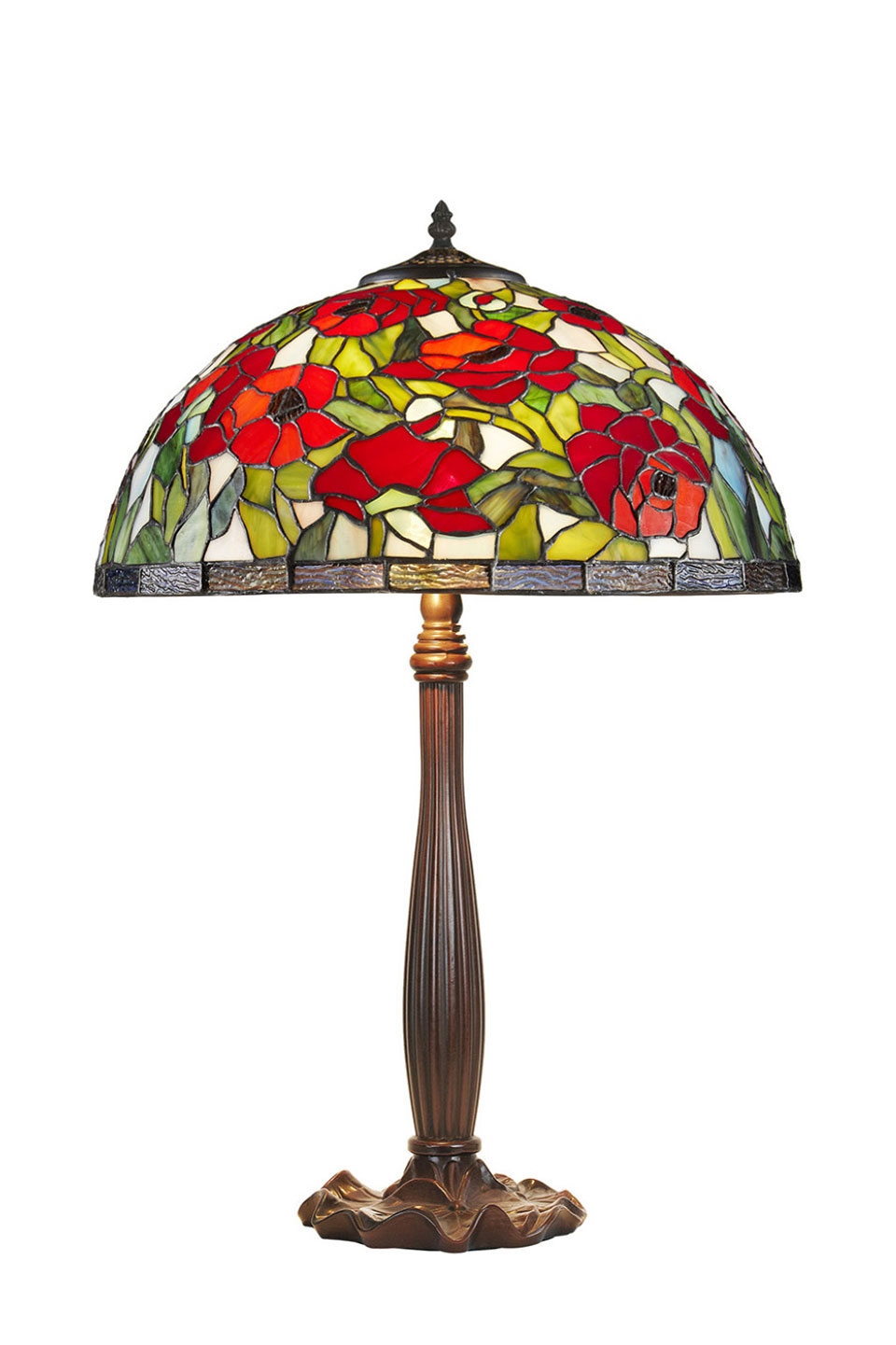 Coquelicots lampe Tiffany pied nénuphars. Artistar.