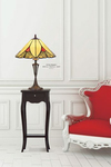 Lampe de table Tiffany en verre jaune et rouge. Artistar.