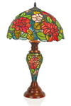 Lampe de table Tiffany fleurs rouges. Artistar.