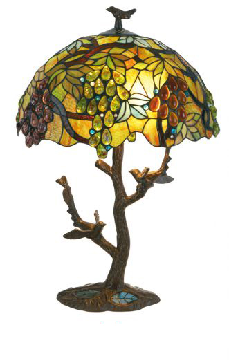 Lampe de table Tiffany motif vigne . Artistar.