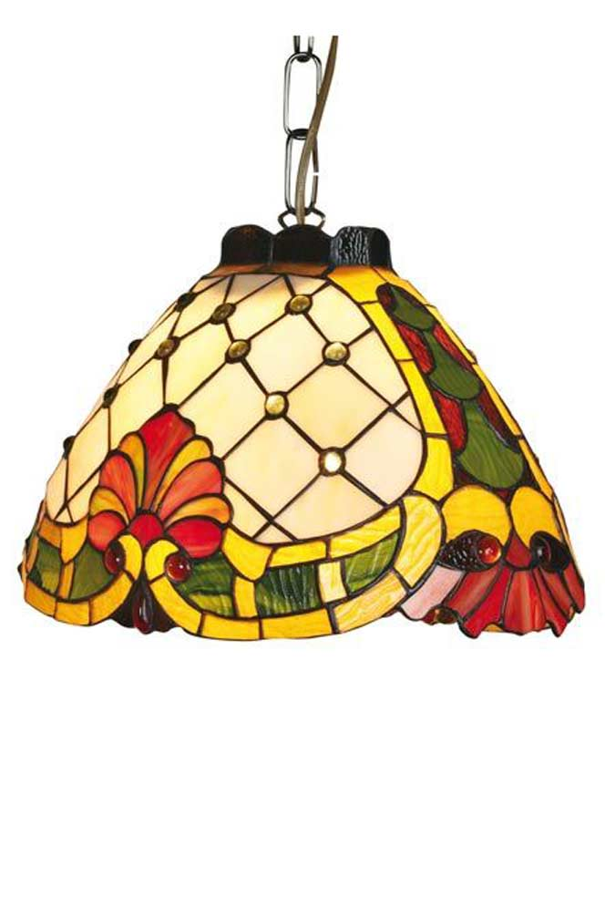 Maxime suspension style Tiffany coquille jaune et rouge. Artistar.