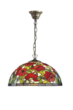 Suspension Coquelicots style Tiffany. Artistar.