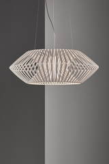 V geometric pendant light 80cm white. Arturo Alvarez.