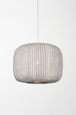 Wide cylinder pendant with white pleated and painted fabric Coral. Arturo Alvarez.