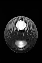 Kirshlag pendant globe in blown  engraved crystal drawing no 1 small model. Atelier Areti.