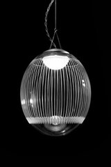 Kirshlag pendant globe in blown  engraved crystal drawing no 2 small model. Atelier Areti.
