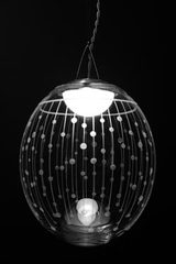 Kirshlag pendant globe in blown  engraved crystal drawing no 3 small model. Atelier Areti.