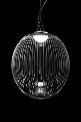 Kirshlag pendant globe in blown  engraved crystal drawing no 5 small model. Atelier Areti.