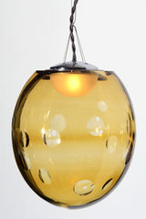 Small blown crystal pendant light Kalin amber. Atelier Areti.