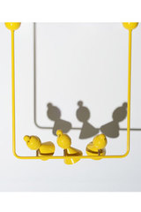 Yellow pendant 3 Alouettes on a branch. Atelier Areti.