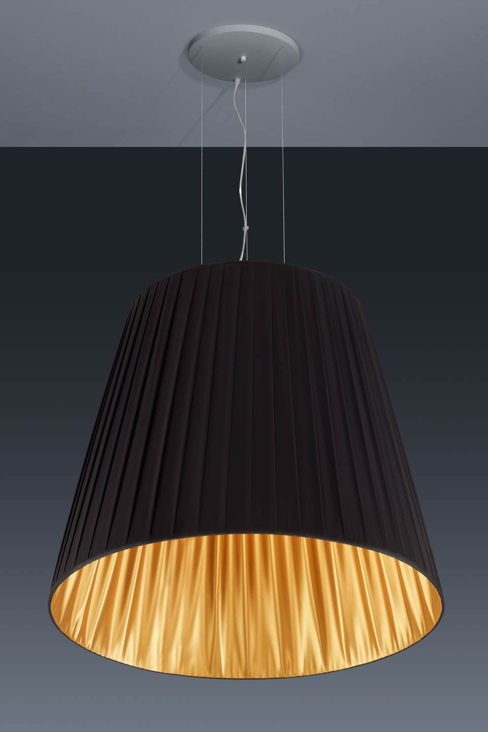 Very large conical pendant in black and gold pleated fabric taffeta. Baulmann Leuchten.