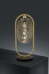 Design golden table lamp and transparent glass