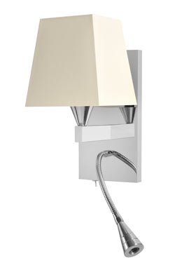 Applique de chevet avec flexible LED finition nickel brillant AL008. Casadisagne.