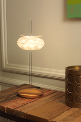 Cocon table lamp in white Japanese paper. Céline Wright.