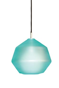 Kasar Polygon pendant in blue glass. Concept Verre.
