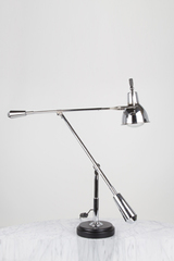 Large EB27 desk lamp chrome and wood base