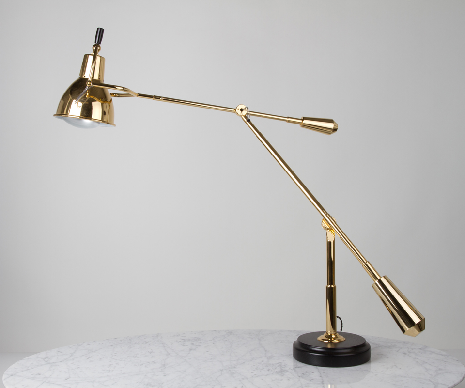 Large desk lamp EB27 Design E. Buquet polished brass. Contract&More.