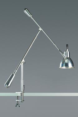 Desk lamp on vise with double pendulum. Contract&More.