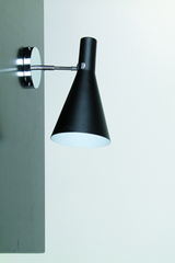 Black wall lamp in conical shape, white interior