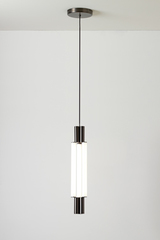 Signal chandelier, design pendant in graphite metal and LED lighting. CVL Luminaires.