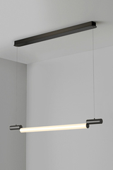 Signal design pendant, neon new look, in graphite metal 97cm. CVL Luminaires.