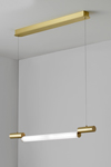 Signal design pendant, neon new look, in satin brass 77cm. CVL Luminaires.