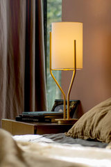 Table Lamp, Satin Brass and Drop Paper Arborescence