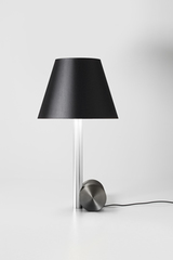 Small satin nickel table lamp with black lampshade. CVL Luminaires.