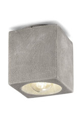 Minimalist grey ceiling light made of rough concrete. Ferroluce.