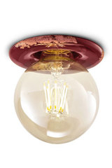 Vintage raspberry red ceiling light with retro LED bulb. Ferroluce.