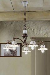 Antique chandelier C403 / 5 Roma 5 lights. Ferroluce.