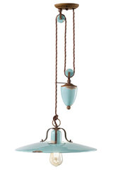 Counterweight pendant Retro in turquoise antique look ceramic. Ferroluce.
