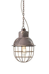 Grey ceramic and rusted metal industrial-style pendant. Ferroluce.