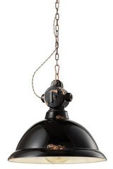 Industrial pendant lamp in black ceramic. Ferroluce.