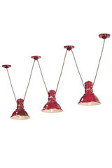 Industrial raspberry red ceramic Triple Hanging lamp. Ferroluce.