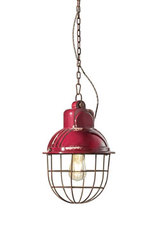 Industrial style pendant lamp, raspberry red. Ferroluce.