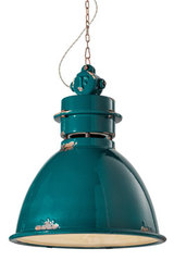 Large Aqua ceramic workshop pendant lamp. Ferroluce.