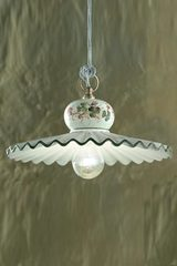 Roma C396 medium white and green pendant lamp. Ferroluce.