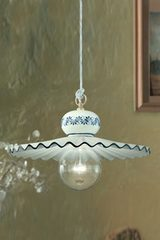Roma C397 pendant lamp large white and blue. Ferroluce.
