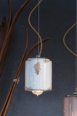 Vintage pendant light C984 white. Ferroluce.