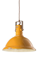 Yellow industrial pendant light in aged ceramic. Ferroluce.