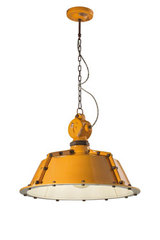 Yellow industrial-style hanging lamp rusted metal and chipped ceramic. Ferroluce.