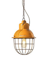 Yellow industrial style pendant made of ceramic and rusted metal.. Ferroluce.