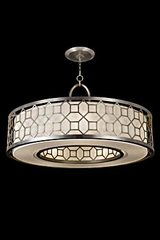 Allegretto round chandelier in silver and natural linen. Fine Art Lamps.