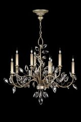 Crystal chandelier in old silver bouquet - Crystal Laurel Collection - Eight lights. Fine Art Lamps.