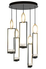 Delphi 5-light black and gold Art Deco chandelier. Fine Art Lamps.