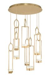 Large gilded chandelier with gold leaf 8 lights Delphi. Fine Art Lamps.