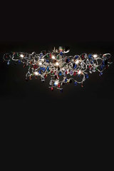Tiara 15-light ceiling light in multicoloured cut glass . Harco Loor.