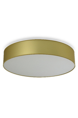 Cylindrical satin gold lamé fabric ceiling lamp. Hind Rabii.